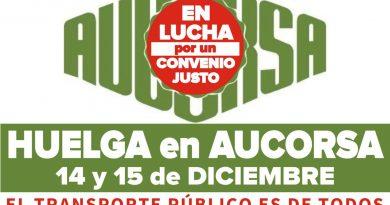 Huelga en Aucorsa los próximos 14 y 15 de diciembre