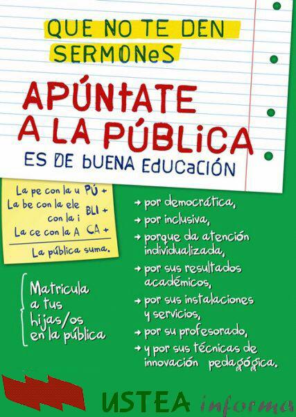 """El sindicato de educación USTEA lanza la campaña """"Apúntate a la escuela pública: Que no te den sermones"""""""