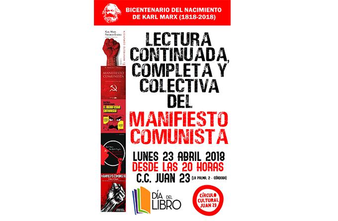 """Día del libro: lectura continuada del """"Manifiesto Comunista"""" en el Círculo Cultural Juan 23"""