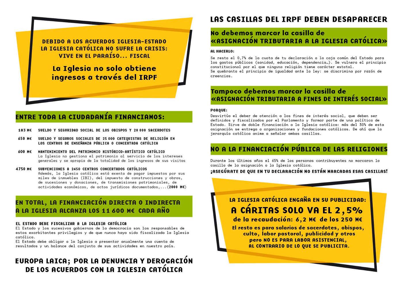 Europa Laica propone a la ciudadanía no marcar ni casilla de la Iglesia Católica ni la de fines sociales