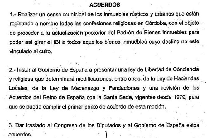 PSOE, IU y Ganemos aprueban realizar un censo de los bienes religiosos que tendrían que pagar el IBI