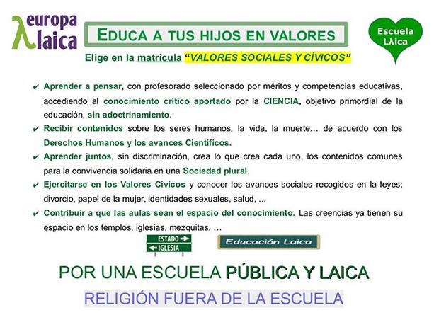 """Córdoba Laica: """"matricula a tus hijas e hijos menores en Valores Sociales y Cívicos (Primaria) o en Valores Éticos (Secundaria)"""""""