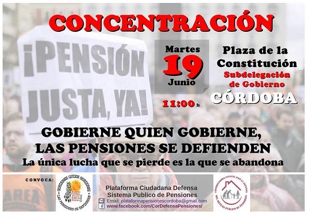 La Plataforma Ciudadana de Córdoba Por La Defensa del Sistema Público de Pensiones convoca una concentración frente a la Subdelegación del Gobierno el 19 de junio