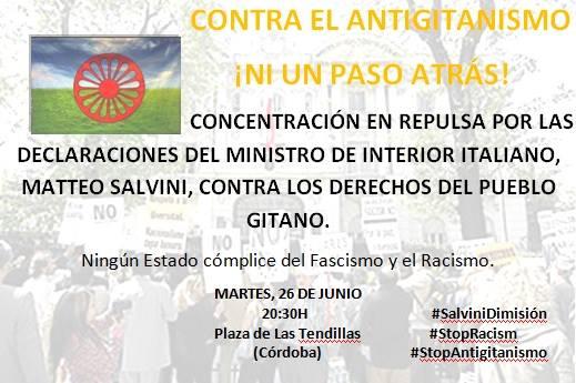"""""""Contra el Antigitanismo ni un paso atrás"""": hoy, concentración en las Tendillas a las 20:30 horas"""