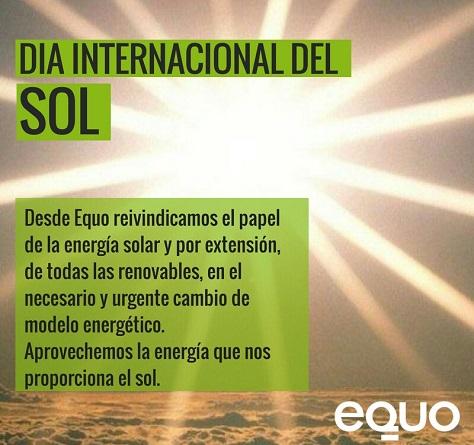EQUO reivindica el papel de la energía solar en el necesario y urgente cambio de modelo energético
