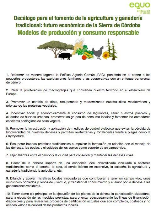 EQUO propone medidas para el desarrollo económico y la creación de empleo en las zonas de dehesa