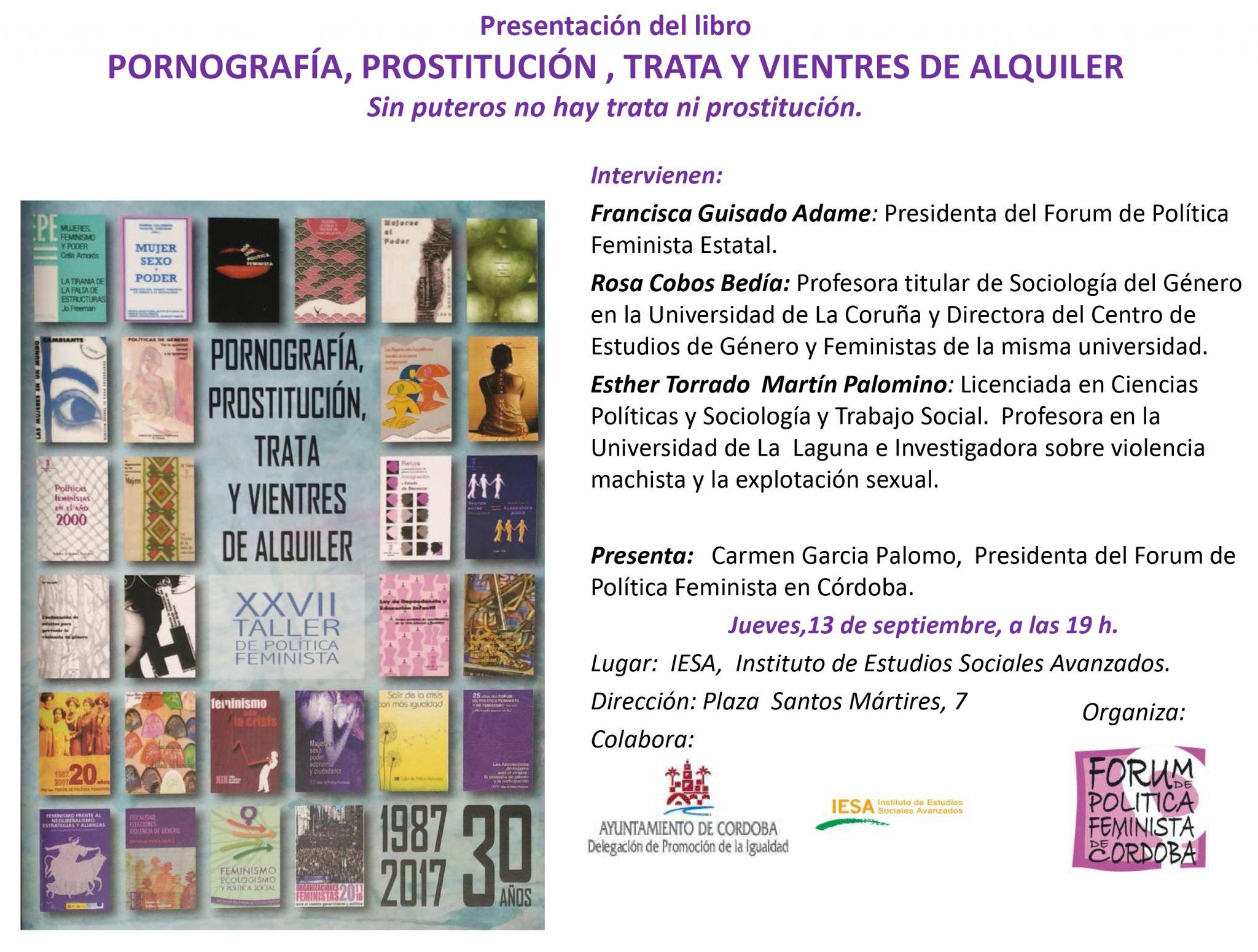 """Presentación del libro """"Pornografía, Prostitución, Trata y Vientres de Alquiler"""". Forum de política  Feminista"""