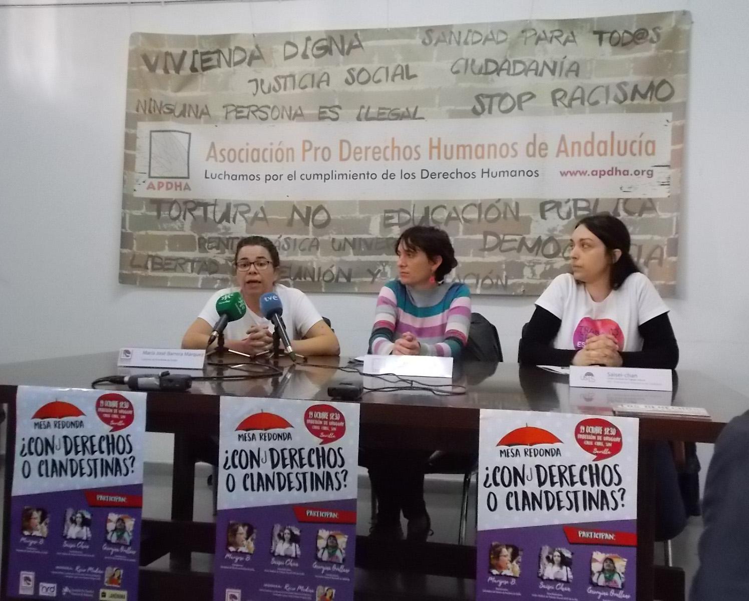 APDHA y el Colectivo de Prostitutas de Sevilla rechazan que la Ley andaluza de Igualdad vulnere los derechos de las trabajadoras sexuales