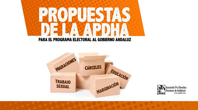 """APDHA presenta sus propuestas """"inexcusables"""" de ámbito social de cara a las elecciones andaluzas"""