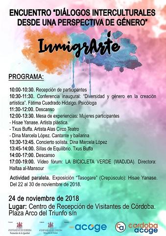 """Encuentro """"Inmigrarte. Diálogos Interculturales desde una Perspectiva de Género"""" de CÓRDOBA ACOGE"""