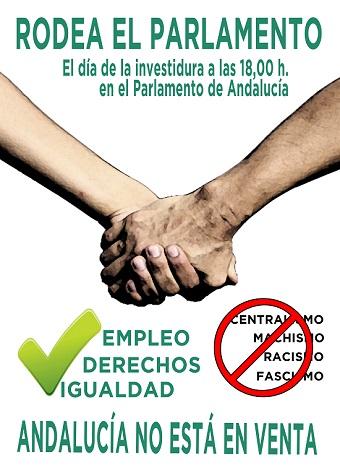 """El Sindicato Andaluz de Trabajadores/as (SAT) convoca un """"Rodea el Parlamento"""" el día de la investidura"""