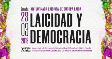 Laicidad y democracia. XIV Jornada Laicista de Europa Laica. Córdoba 23 de marzo de 2019
