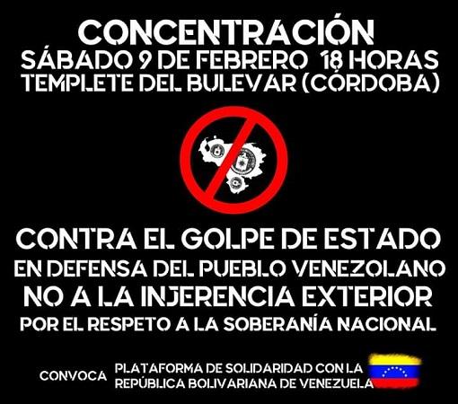 """Plataforma Solidaridad con la República Bolivariana de Venezuela: """"no en nuestro nombre, Pedro Sánchez ni golpe de estado, ni invasión ni guerra"""""""