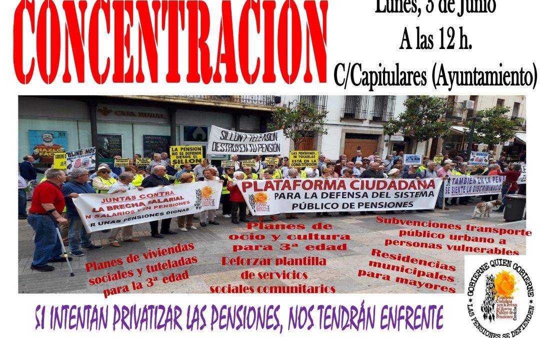La Plataforma en Defensa de la Pensiones convoca nueva concentración el lunes frente al Ayuntamiento