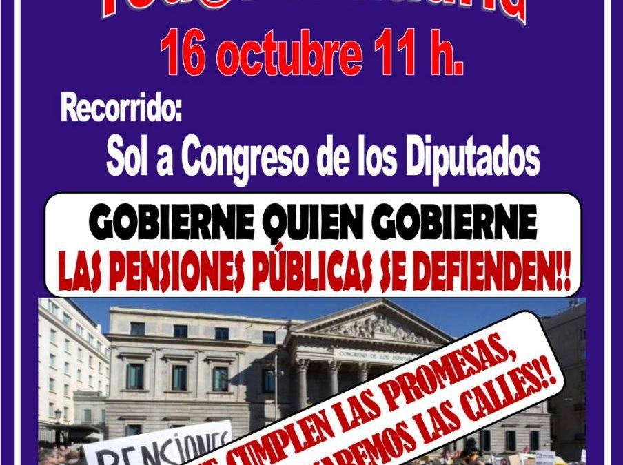 """Gran manifestación en Madrid el 16 de octubre: """"Gobierne quien gobierne, las pensiones se defienden"""""""