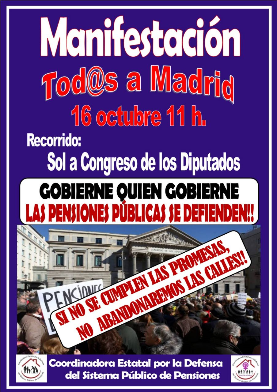 Gran manifestación en Madrid el 16 de octubre: