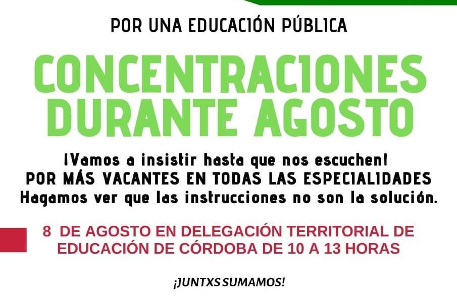 Concentración contra el recorte de centenares de docentes en primaria
