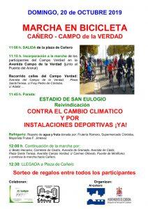 Marcha en bicicleta Cañero-Campo de la Verdad: Contra el cambio climático y por las instalaciones deportivas