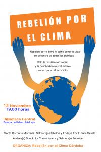 Charla-coloquio Rebelión por el Clima @ Biblioteca Central de Córdoba