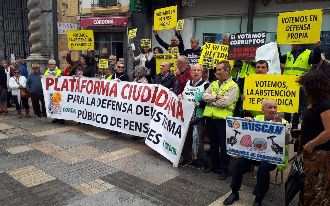 Los Yayos coinciden con la concentración por las pensiones y exigen el voto para quienes las defiendan