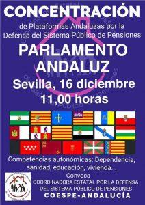 Concentración por las pensiones públicas en Sevilla el 16 de diciembre @ Parlamento de Andalucía