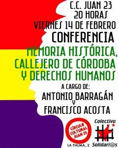 Memoria Histórica, callejero de Córdoba y Derechos Humanos @ Círculo Cultural Juan XXIII