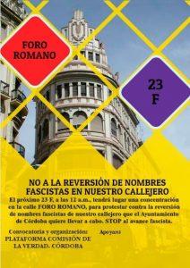 23F No a la reversión de nombres fascistas en nuestro callejero @ Calle Foro Romano