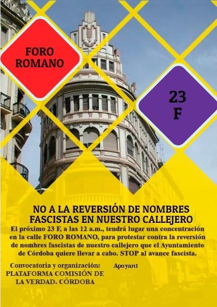 23F No a la reversión de nombres fascistas en nuestro callejero