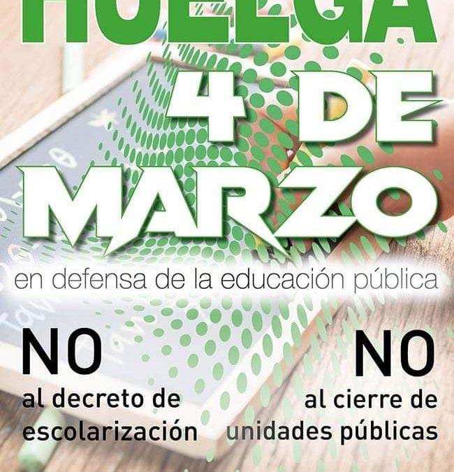 La Plataforma Andaluza por la Escuela Pública convoca huelga educativa el próximo 4 de marzo contra el nuevo Decreto de Escolarización