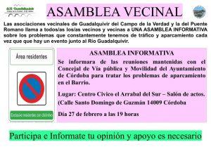 Asamblea Vecinal de la A.V. Guadalquivir del Campo de la Verdad @ C.C. Arrabal del Sur