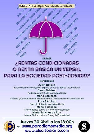 """Hoy, a las 18'00, Paradigma organiza el debate """"¿Rentas condicionadas o Renta Básica Universal para la sociedad post Covid-19?"""