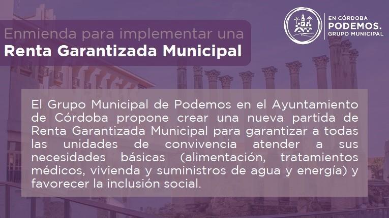 Podemos Córdoba también pide al Ayuntamiento una Renta Social Municipal