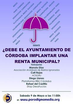 """Nuevo debate en Paradigma Media Andalucía: """"¿Debe el Ayuntamiento de Córdoba implantar una Renta Municipal?"""""""