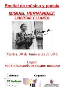 """""""Libertad y llanto"""", recital de poesía y música en homenaje a Miguel Hernández. @ Mirador Osario Romano"""