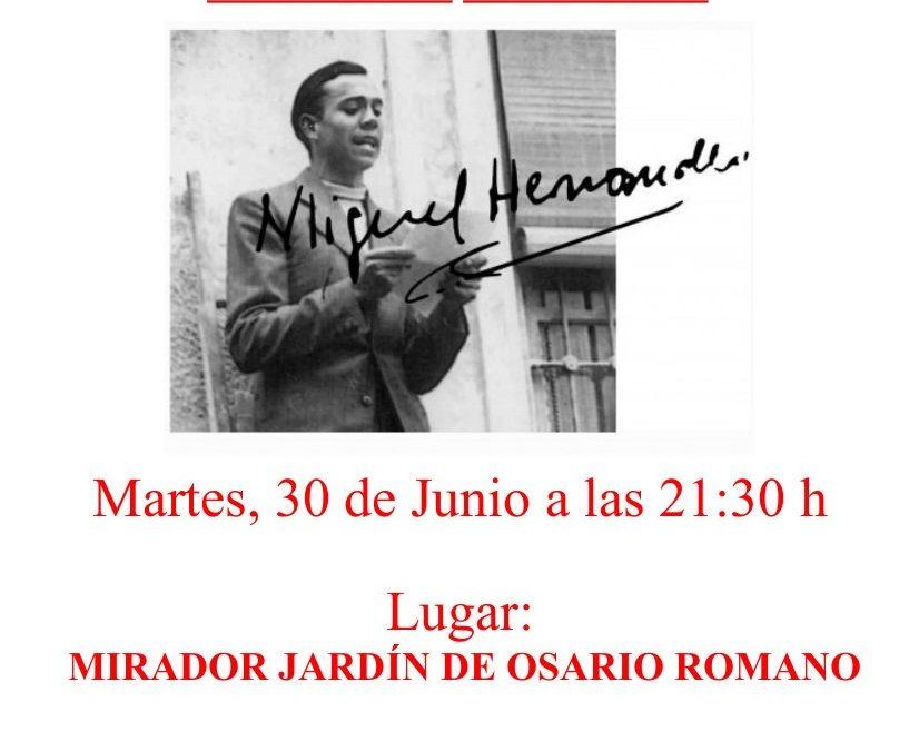 """""""Libertad y llanto"""", recital de poesía y música en homenaje a Miguel Hernández."""
