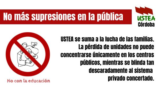 USTEA Córdoba contra el cierre de líneas en la Escuela Pública