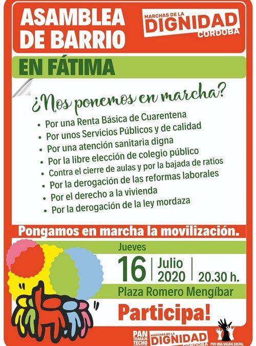 Asamblea de barrio de las Marchas de la Dignidad en Fátima