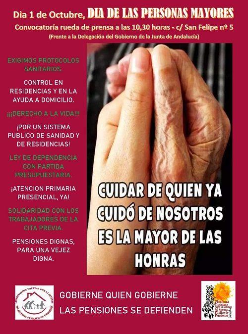 La Plataforma de Pensionistas celebran el Día Internacional de las Personas Mayores reivindicando la dignidad de sus vidas y de las personas que vienen detrás