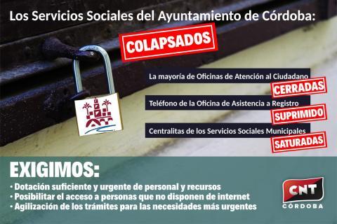 CNT denuncia el colapso de los servicios sociales del Ayuntamiento de Córdoba