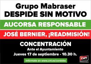 Concentración por la readmisión del trabajador despedido en AUCORSA @ Ayuntamiento de Córdoba