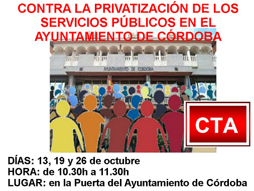 Contra la privatización de los servicios públicos en el Ayuntamiento