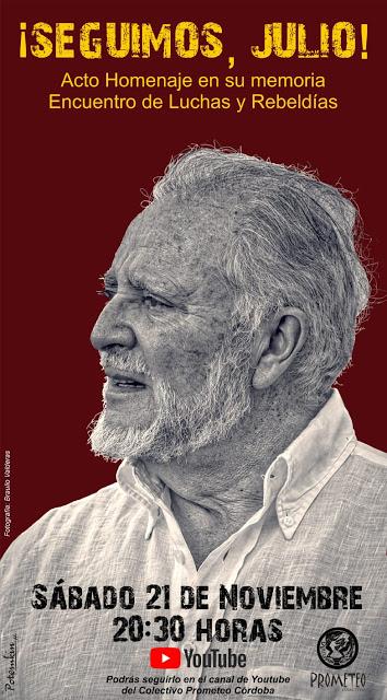 Hoy a las 20'30 horas, homenaje a Julio Anguita