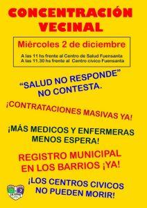 Concentración vecinal por los servicios básicos en Santuario @ Centro de Salud Fuensanta.
