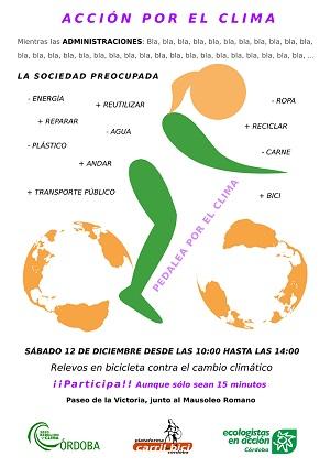 """El sábado 12, desde las 10'00, acción por el clima """"a pedales"""""""