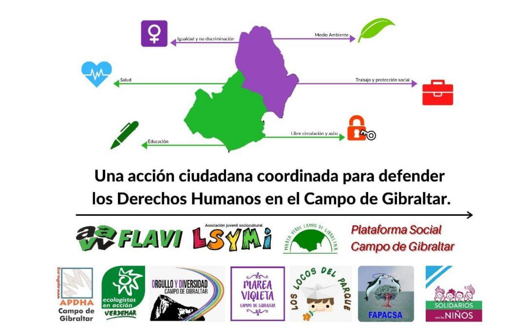 """Once movimientos sociales se unen en una """"acción ciudadana coordinada"""" para defender los Derechos Humanos en el Campo de Gibraltar."""