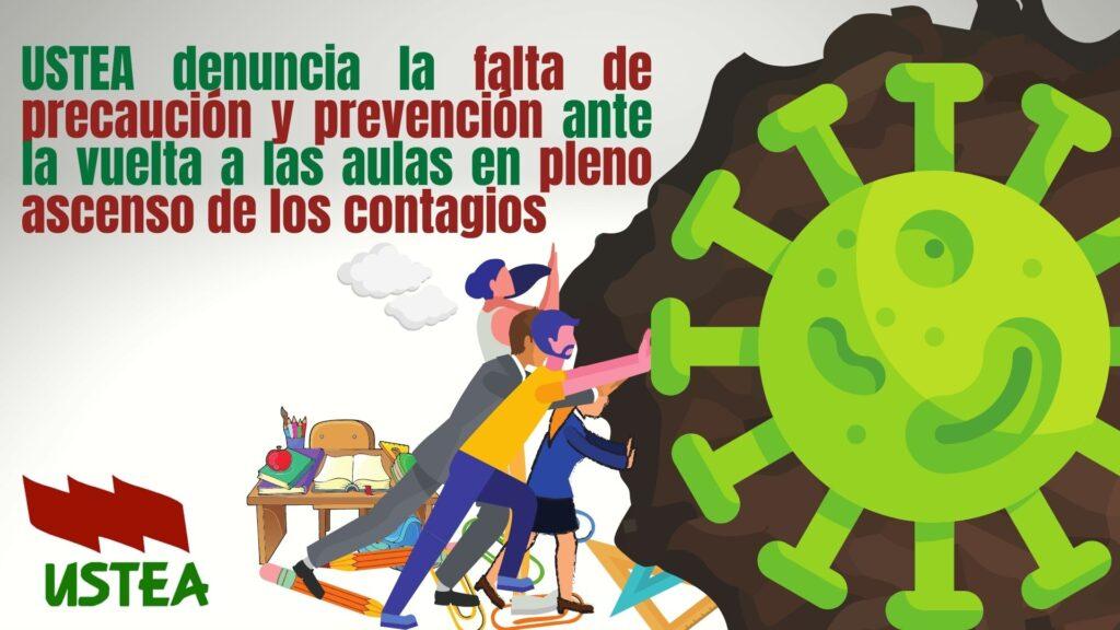 USTEA denuncia la falta de precaución y prevención ante la vuelta a las aulas en pleno ascenso de los contagios