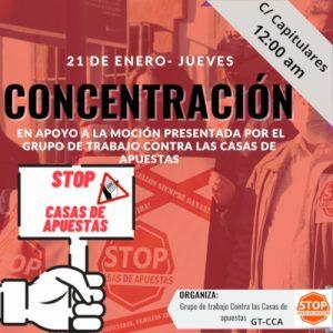 Concentración en apoyo a la moción de pleno, propuesta por el grupo de trabajo contra las casas de apuestas @ Ayuntamiento de Córdoba