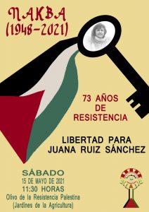 """Concentración por la libertad de Juana Ruiz en el 73 aniversario del """"Al Nakba"""" @ Árbol de la Resistencia Palestina"""