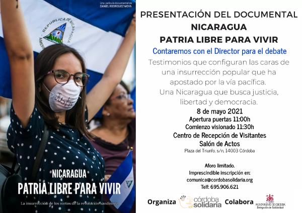 """Córdoba Solidaria organiza la proyección del Documental """"Nicaragua. Patria Libre para vivir"""""""
