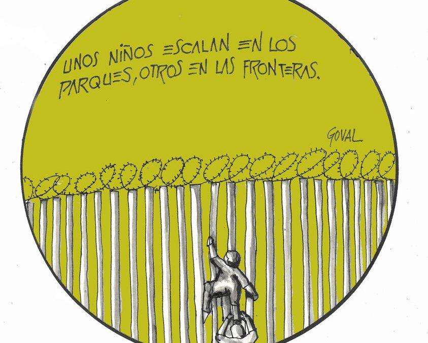 """La viñeta de Goval: """"Unos niños escalan en los parques, otros en las fronteras"""""""